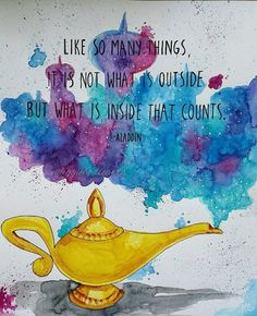 PRINT Aladdin Illustrated Watercolor Quote, Magic Lamp, Genie's Lamp, Children's Art, Gift Idea - Disney - The Stylish Quotes Disney Amor, Art Disney, Disney Love, Disney Magic, Disney Jasmine, Inspirational Artwork, Inspirational Disney Quotes, Frases Aladdin, World Disney