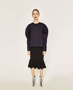 Image 1 of POPLIN SHIRT WITH PLEATED SLEEVES from Zara