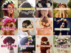 """ Zodiac Aesthetic; 12 Zodiac Signs in One Word & with a Flower Crown."" Cancer Zodiac Sign ♋ - Delicate"
