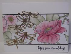 In My Craft Room - Stamping With Glenda: Inside the LInes Designer Paper Meets Detailed Dragonfly Dies - A CASED card