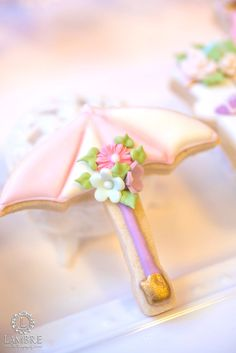 Umbrella cookie from Mary Poppins Carousel Themed Birthday Party at Kara's Party Ideas!