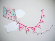 SOPHIA Wall Hanging. Personalized baby name wall banner. Girls bedroom decor, Party decor. Baby shower gift. Christening gift. Kite.