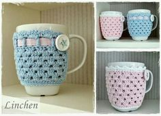 Knitting Patterns Needles After Stitch And Thread: New Ebook: Cup Cozies - crochet cup warmer in 2 variants Crochet Coffee Cozy, Crochet Cozy, Crochet Gifts, Cute Crochet, Cozy Coffee, Coffee Cup, Crochet Blanket Patterns, Knitting Patterns, Mug Cozy Pattern