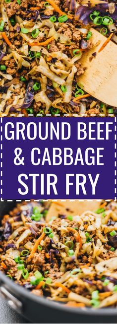 This is a super fast and easy stir fry dinner with ground beef, cabbage, carrots, and scallions. recipe, paleo, skillet, one pot, one pan, bowl, korean, asian, slaw, comfort foods, meat, dinners, families, keto, low carb, diet, atkins, induction, meals, recipes, easy, dinner, lunch, foods, healthy. #stirfry #dinner