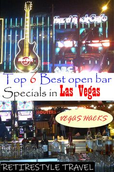 Top 6 best all-you-can-drink open bar specials on Las Vegas Strip. Vegas Hacks for drinkers & money-saving tips by Retirestyle Travel. All-you-can-drink. Las Vegas Eats, Las Vegas Trip, Vegas Vacation, Vacation Trips, Vacation Ideas, Vacations, Best Bars In Vegas, Vegas Bars, Fremont Street