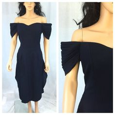 Vintage Navy Off the Shoulder Dress. Evening. by NicoleNicoletta