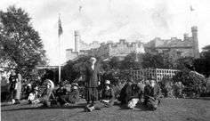 Vaucluse House, Sydney, NSW, 1928 - Relaxing on the lawn in front of Vaucluse House