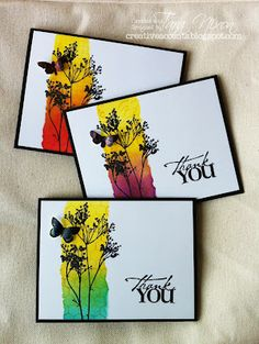 Love this: vibrant colors with a black silhouette stamp plus greeting