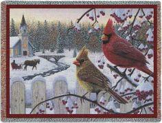 Pure Country Weavers Kim Norlien White Crimson Morning Throw Cardinal Snow