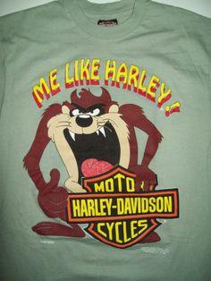 HARLEY DAVIDSON M Medium VINTAGE TAZ T-Shirt 1992 RARE Mens LNC Harley Shirts, Corvette, Cool T Shirts, Harley Davidson, Medium, Mens Tops, Vintage, Fashion, Moda