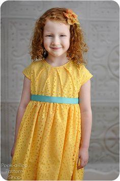 Savannah Pleated Party Dress: Girls Dress Pattern, Easter Dress Pattern, Flower Girl Dress Pattern  3m-12yrs