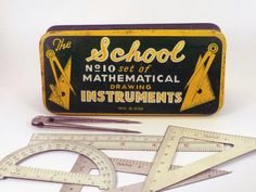 The School Set of Mathematical Drawing Instruments by brightpink, $38.00