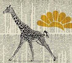 giraffe I  printed on page from old dictionary by FauxKiss on Etsy, $12.00