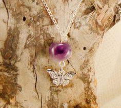 Amethyst Pendant Necklace Purple Beaded by alittlebeadofme on Etsy, $6.90