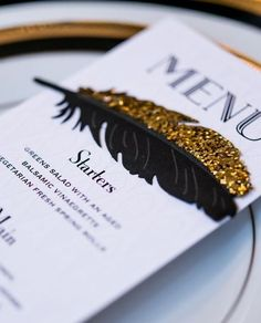 Custom dinner menus for a or Gatsby theme. by Wedding Star. Black Tie Party, Black Gold Party, Black Tie Wedding, Gold Wedding, Rustic Wedding, Dream Wedding, Broken Crayons Still Color, Cocktail Party Invitation, Wedding Pics