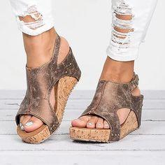 Women Sandals 2019 Platform Sandals Wedges Shoes For Women Heels Sandalias Mujer Summer Shoes Leather Wedge Heels Sandals 43 ShoeMeHoney Open Toe Sandals, Platform Wedge Sandals, Wedge Shoes, Gladiator Sandals, Sandals 2018, Chunky Sandals, White Sandals, Platform Shoes, Flat Sandals