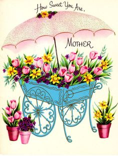Vintage Mothers Day Card - Parasol Art