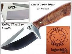 Premium Knife Custom Laser ServiceWe offer a custom laser service for our valued customers. We can laser your logo or design on most surfaces: Steel, Leather, the value of your product with your logo added.Send your logo or name in a jpeg fil Custom Knives, Knife Making, Kitchen Knives, Steel, Logos, Leather, Design, Logo
