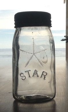 RARE Canadian Curly R Clear Quart STAR Below Star Sealer Canning Jar Embossed 13 Love it!