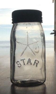 RARE Canadian Curly R Clear Quart STAR Below Star Sealer Canning Jar Embossed 13