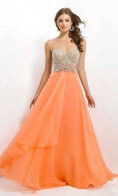 unique sequin orange long sweetheart chiffon prom dress - Vuhera.com