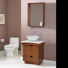 """Decolav Madryn 24"""" Concave Walnut Vanity, Wood bathroom vanity"""