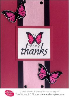 The Stampin' Place - Card Idea: 22 Many Thanks Butterflies, Card Idea (http://www.stampin.com/cards/card22.html)