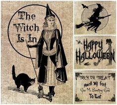 Vintage Style Halloween Prints-Halloween; trick or treat; witch; witches; vintage print; vintage; burlap; wall art; halloween decor; hallowe...