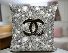 Chanel Glitter Design Decorative Pillow Cover by SPBU on Etsy Interior Design Living Room, Living Room Decor, Bedroom Decor, Bedroom Ideas, Chanel Decoration, Chanel Bedroom, Glam Room, Designer Pillow, Beauty Room