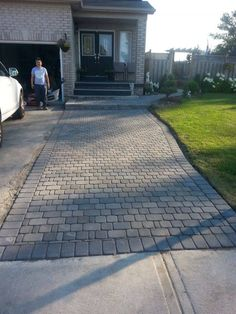 Driveway Extension For in front of fence Driveway Edging, Paver Walkway, Front Walkway, Driveway Landscaping, Brick Pavers, Driveway Ideas, Landscaping Ideas, Cobblestone Driveway, Front Yard Patio