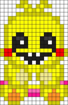 Toy Chica No Beak Perler Bead Pattern / Bead Sprite