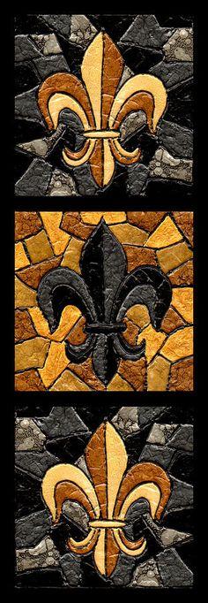 Black And Gold Triple Fleur De Lis Painting by Elaine Hodges