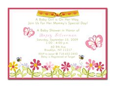"girl baby shower invitaions | Baby is Blooming"" Butterfly Baby Shower Invitations"