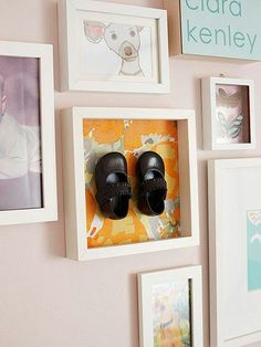 Baby shoe shadow box