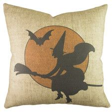 Witch With Moon Polyester Throw Pillow