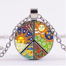NEW Cabochon Glass necklace Silver/Bronze/Black pendant(nature peace sign