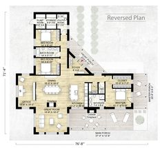 Contemporary Style House Plan - love this plan very little tweaking needed The Plan, How To Plan, Small House Plans, House Floor Plans, L Shaped House Plans, Outside Fireplace, Barndominium Floor Plans, Casas Containers, Room With Plants
