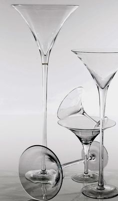 """Martini Vases Very Tall 27.5"""" Glass Martini Vases $78 each (top is 12"""" wide)"""