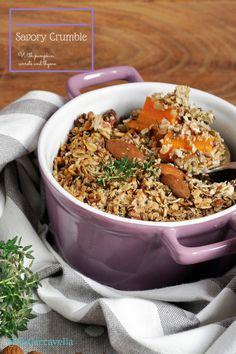 lacaccavella,#crumble salato, zucca, carote, timo, thyme, crumble, carrots, pumpkin, mandorle, almonds,