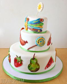 Very Hungry Caterpillar Cake | SugarHero.com - she's got a great recipe and even includes how to make fondant!