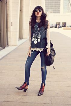 Loving @Natalie Jost Suarez's rocker tee over her sheer lace blouse with skinny jeans and vintage inspired booties
