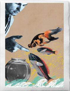 Pisces - Zodiac Illustration, Collage Print on handmade watercolor paper, 8x12 by EineDerGuten on Etsy