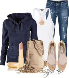 tank, necklace, jeans, hoodie... in love.