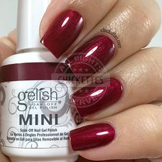 nails.quenalbertini: Gelish 'I'm So Hot' is a dark burgundy with a lush frosty finish
