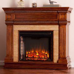 Faircrest Electric Fireplace Mantel Package in Oak Saddle - FE9617 Faux Stone Electric Fireplace, Corner Electric Fireplace, Electric Fireplace Heater, Traditional Family Rooms, Traditional Fireplace, Brick Fireplace, Fireplace Mantels, Fireplaces, Mission Oak