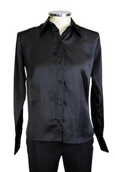 Camisa em cetim preta