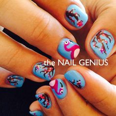 #thenailgenius #nailart #edengelpolish #melbourne #handpainted #blue #flamingo #cherryblossom