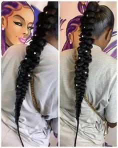 Senegalese Twist Hairstyles, Weave Ponytail Hairstyles, Ponytail Styles, Sleek Ponytail, Braided Ponytail, Hairstyles For Gowns, Baddie Hairstyles, Girl Hairstyles, Crochet Braids Straight Hair