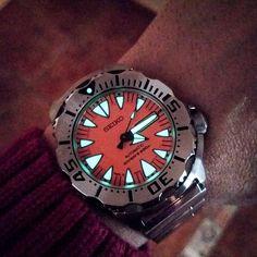 REPOST!!!  Orange Seiko Monster lume #seiko #srp309 #seikousa #seikojapan #seikomonster #affordablewt #wotd #sportwatch #watchgame #watchfam #wristshot #wus #hodinkee #uhr #watchesofinstagram #instawatch #orologio #relojesespeciales #pics #ablogtowatch #p