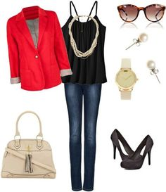 How to accessorize a black tank and jeans for work with simple pumps, a structured handbag, menswear inspired watch and optional red blazer